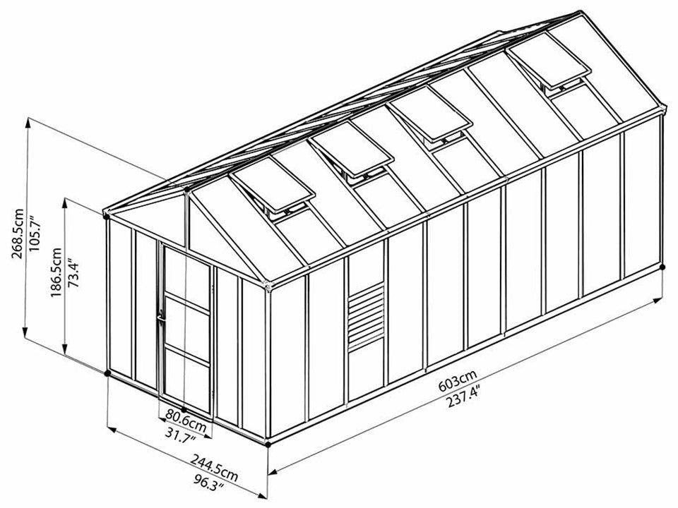 Palram Glory 8ft x 20ft Hobby Greenhouse HG5620 - full view of framework with dimensions