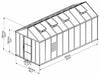 Image of Palram Glory 8ft x 20ft Hobby Greenhouse HG5620 - full view of framework with dimensions