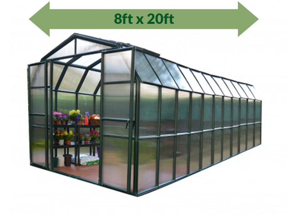 Rion Grand Gardener 2 Twin-Wall 8ft x 20ft Greenhouse HG7220 - full view - green arrow on top - white background