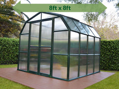 Rion Grand Gardener 2 Twin-Wall 8ft x 8ft Greenhouse HG7208 - full view - green arrow on top showing dimensions - in a garden