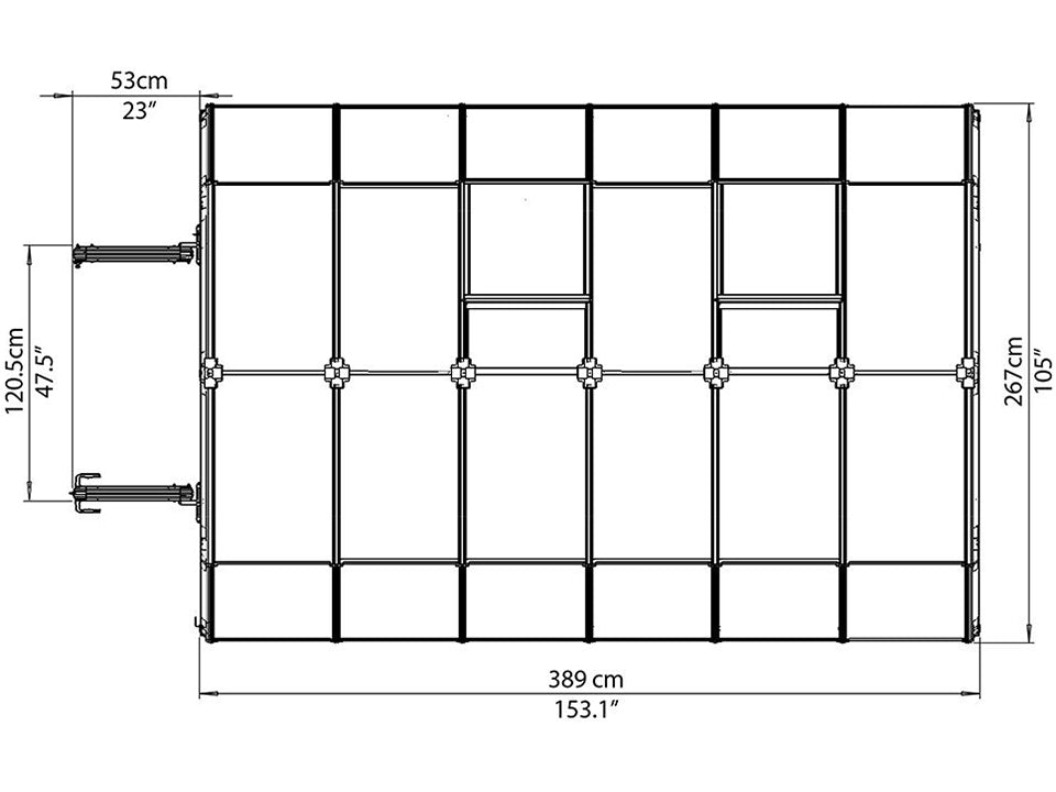 Rion Grand Gardener 2 Twin-Wall 8ft x 12ft Greenhouse HG7212 - top view of framework with dimensions
