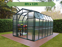Rion Grand Gardener 2 Twin-Wall 8ft x 12ft Greenhouse HG7212 - full view - green arrow on top - in a garden