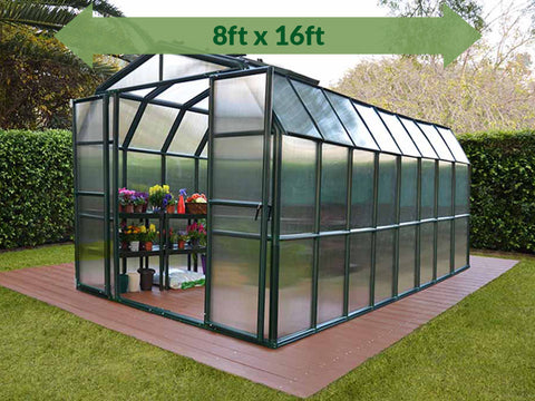Rion Grand Gardener 2 Twin-Wall 8ft x 16ft Greenhouse HG7216 - full view - green arrow on top - in a garden
