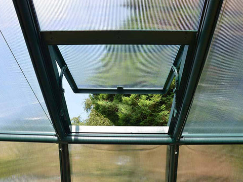 Image of Rion Grand Gardener 2 Twin-Wall 8ft x 8ft Greenhouse HG7208 - interior view - open roof vent