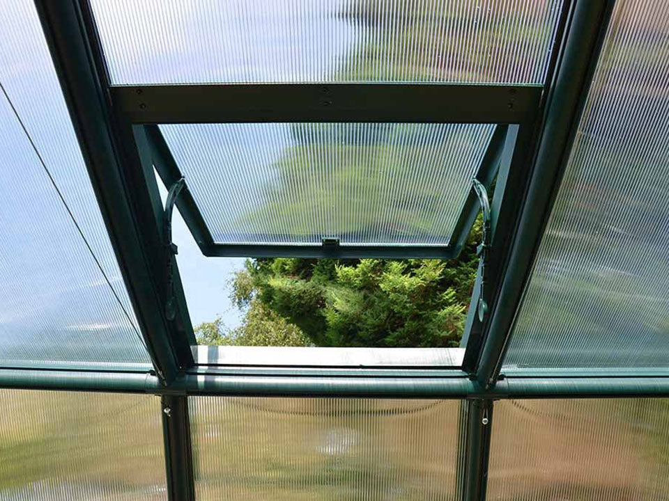 Rion Grand Gardener 2 Twin-Wall 8ft x 20ft Greenhouse HG7220 - internal view - open roof vent