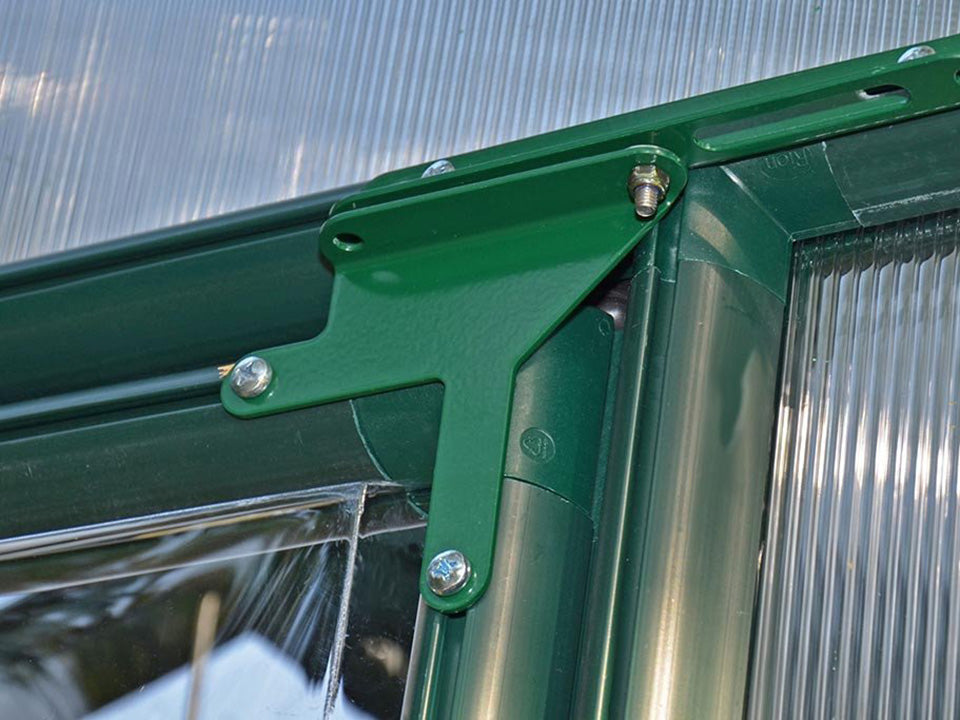 Rion Grand Gardener 2 Twin-Wall 8ft x 16ft Greenhouse HG7216 - interior view - close up - Door hinges
