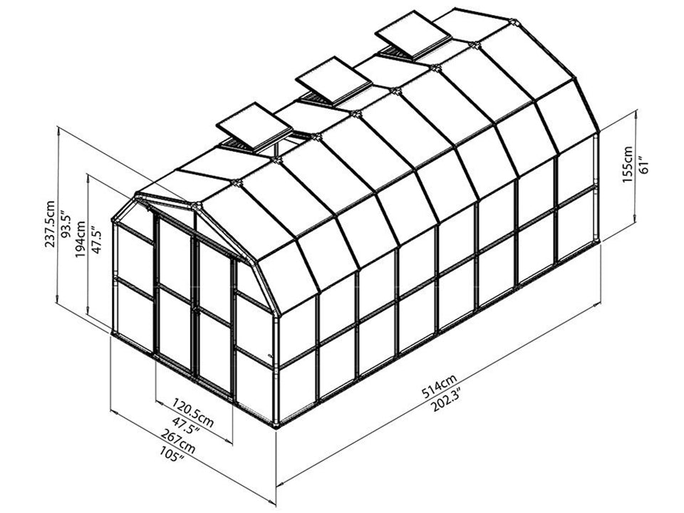 Rion Grand Gardener 2 Twin-Wall 8ft x 16ft Greenhouse HG7216 - full view of framework with dimensions