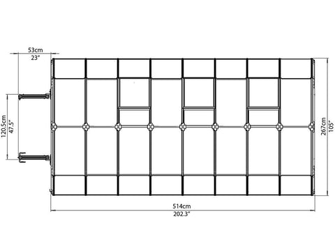 Rion Grand Gardener 2 Twin-Wall 8ft x 16ft Greenhouse HG7216 - top view of framework with dimensions