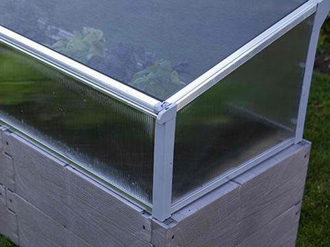 Grey Timber Raised Bed with Year Round Cold Frame Lower Corner Close Up