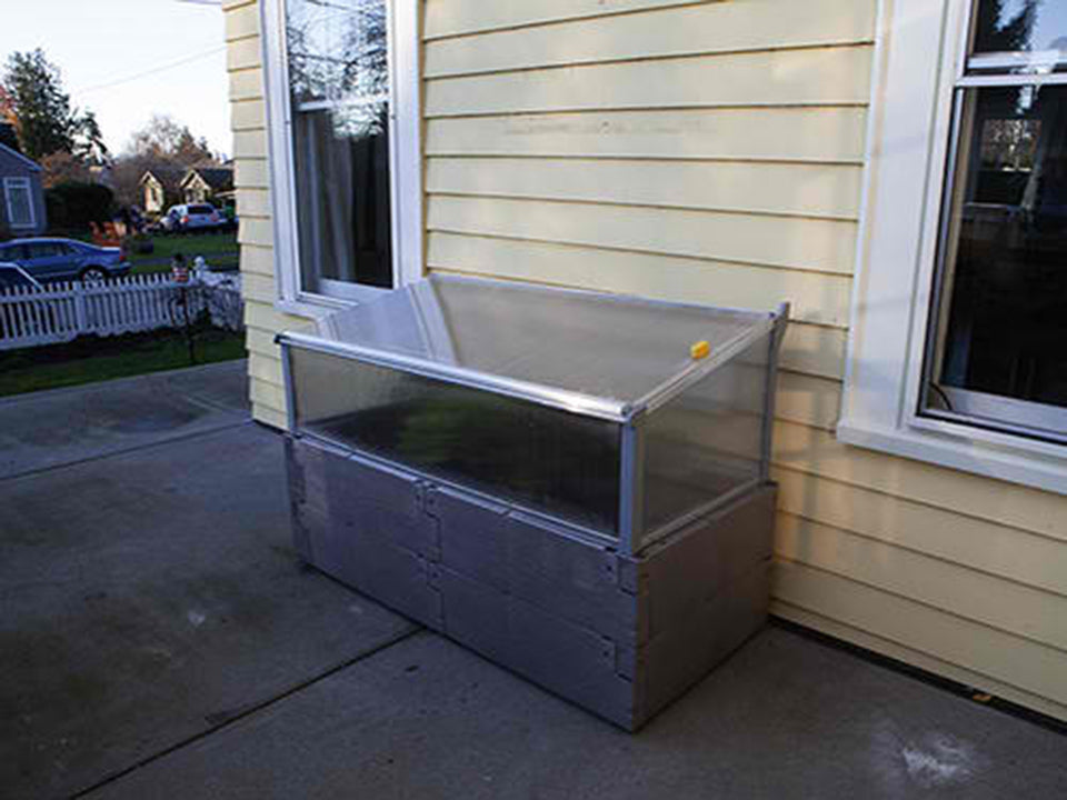Grey Timber Raised Bed with Year Round Cold Frame by the House