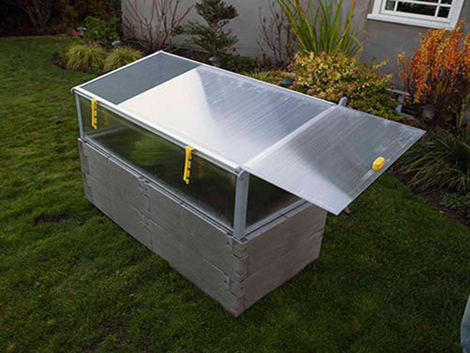Grey Timber Raised Bed with Year Round Cold Frame Sliding Top Panel