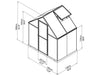 Image of Palram Hybrid 6ft x 4ft Hobby Greenhouse-HG5504(G) - full view of framework with dimensions