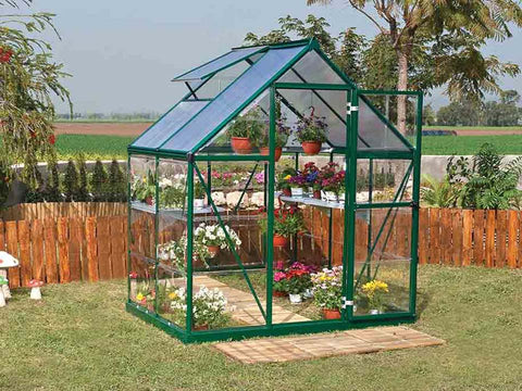 Palram Hybrid 6ft x 4ft Hobby Greenhouse-HG5504(G) - full view - in a garden