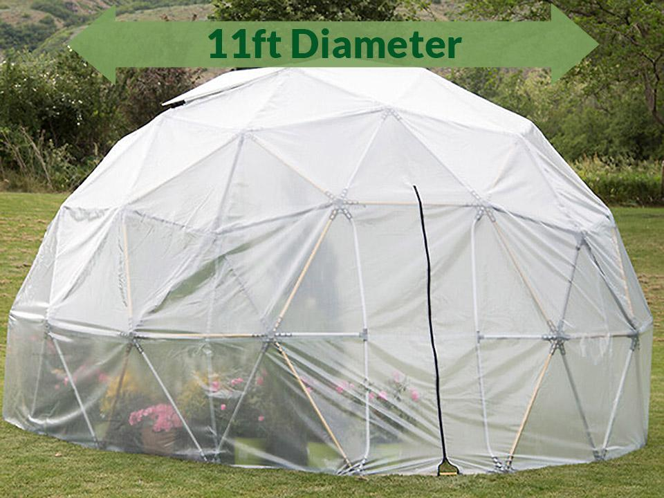 Front view of the Harvest Right Geodesic Greenhouse 11ft with closed door and an arrow showing the size of 11ft in diameter