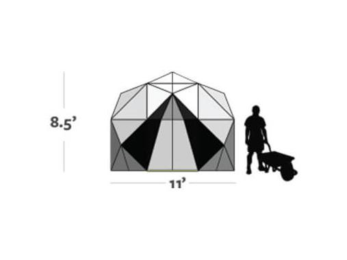 Graphic shows the size of the Harvest Right Geodesic Greenhouse 11ft