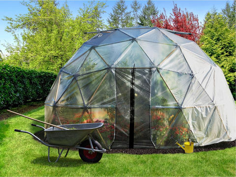 Image of Harvest Right Geodesic Greenhouse from the front with closed door