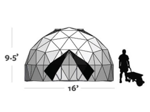 Graphic shows the size of the Harvest Right Geodesic Greenhouse Kit 16ft (9.5ft tall and 16ft diameter)