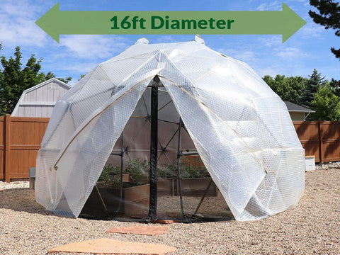 Harvest Right Geodesic Greenhouse Kit 16ft with door open and mash door closed