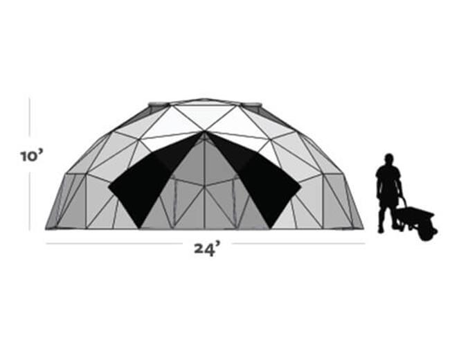 Graphic shows the size of the Harvest Right Geodesic Greenhouse Kit 24ft (10ft tall and 24ft diameter)