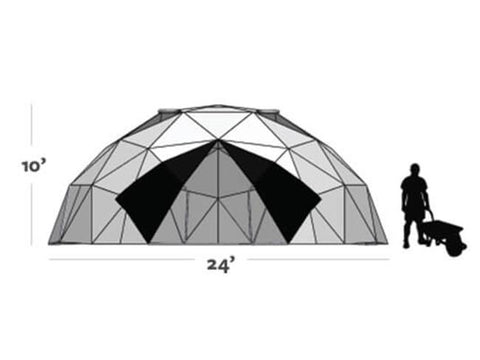 Image of Graphic shows the size of the Harvest Right Geodesic Greenhouse Kit 24ft (10ft tall and 24ft diameter)