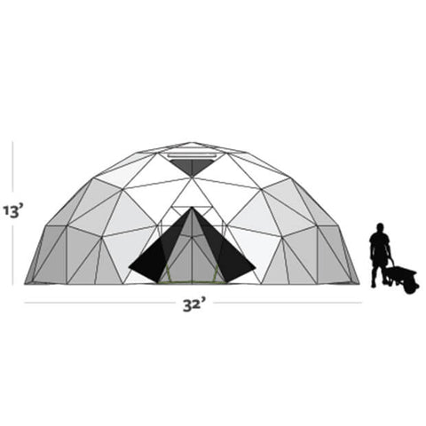 Graphic shows the size of the Harvest Right Geodesic Greenhouse Kit 32ft (13ft tall and 32ft diameter)