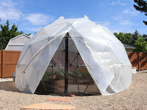 Image of Harvest Right Geodesic Greenhouse from the front with open door