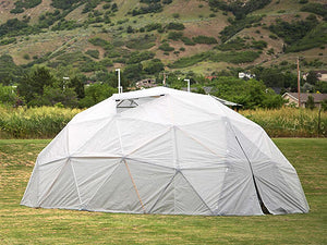 Side view of the Harvest Right Geodesic Greenhouse with closed doors and open windows