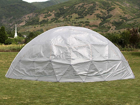 Back side of the Harvest Right Geodesic Greenhouse