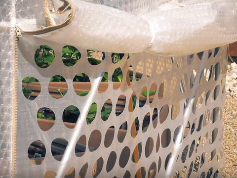 Image of Mesh side of the geodesic dome greenhouse