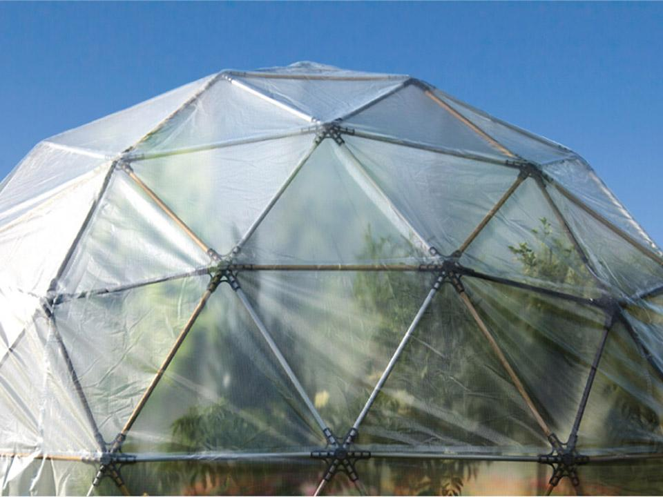 Detail view of the Harvest Right Geodesic Greenhouse structure and cover