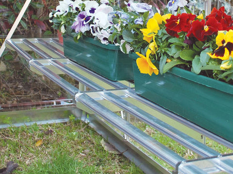 Image of Palram 24.5in x 16.5in Heavy Duty Shelf Kit side view with flowers