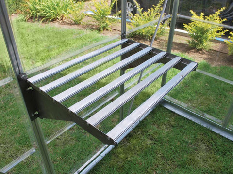 Palram 24.5in x 16.5in Heavy Duty Shelf Kit side view in silver