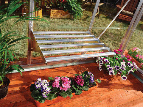 Image of Palram 24.5in x 16.5in Heavy Duty Shelf Kit Full view  with flowers