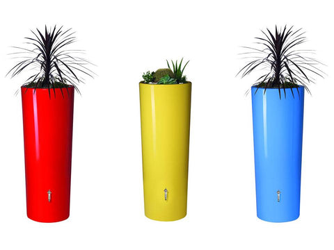 Image of High Gloss Elegance Rain Barrel with Planters in Lemon Yellow, Tomato Red, and Blue