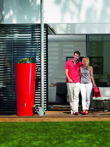Image of Tomato Red High Gloss Rain Barrel & Planter Outdoor