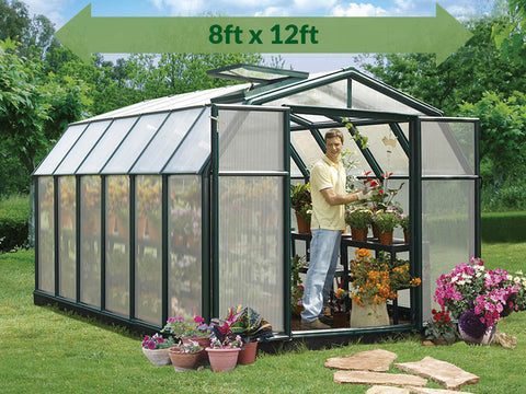Rion Hobby Gardener 2 Twin Wall 8ft x 12ft Hobby Greenhouse HG7112 - full view - green arrow on top showing dimensions - in a garden