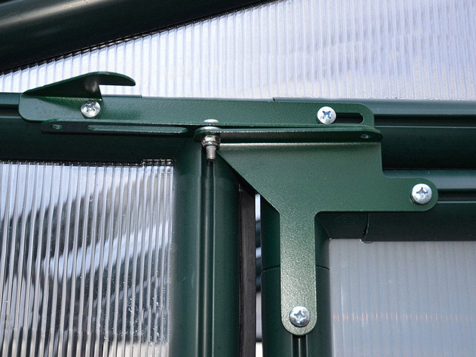 Rion Hobby Gardener 2 Twin Wall 8ft x 20ft Hobby Greenhouse HG7120 - close up interior view - Door hinges