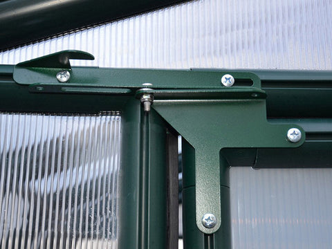 Rion Hobby Gardener 2 Twin Wall 8ft x 12ft Hobby Greenhouse HG7112 - close up interior view -Door hinges