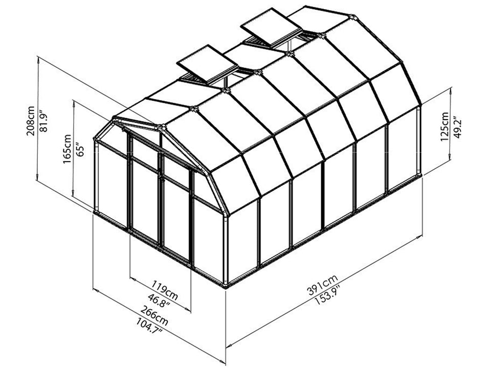 Rion Hobby Gardener 2 Twin Wall 8ft x 12ft Hobby Greenhouse HG7112 - full view of framework with dimensions