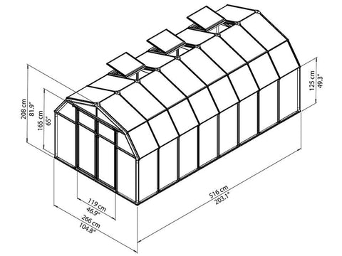 Rion Hobby Gardener 2 Twin Wall 8ft x 16ft Hobby Greenhouse HG7116 - full view of framework with dimensions
