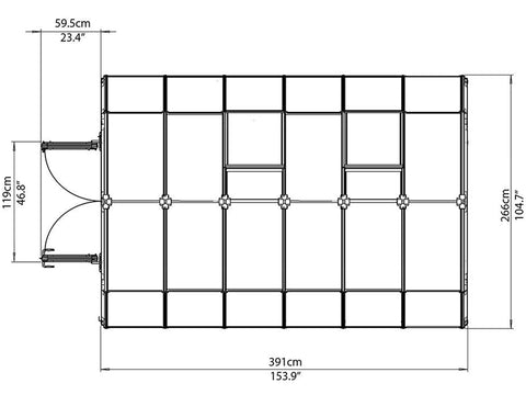 Image of Rion Hobby Gardener 2 Twin Wall 8ft x 12ft Hobby Greenhouse HG7112 - top view of framework with dimensions