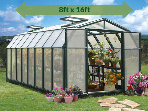 Rion Hobby Gardener 2 Twin Wall 8ft x 16ft Hobby Greenhouse HG7116 - full view - green arrow on top with dimensions - in a garden