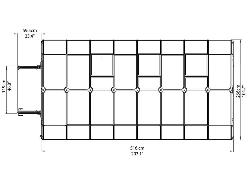 Rion Hobby Gardener 2 Twin Wall 8ft x 16ft Hobby Greenhouse HG7116 - top view of framework with dimensions