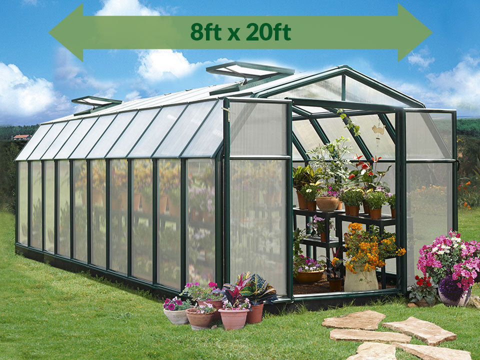 Rion Hobby Gardener 2 Twin Wall 8ft x 20ft Hobby Greenhouse HG7120 - full view - green arrow on top with dimensions - in a garden