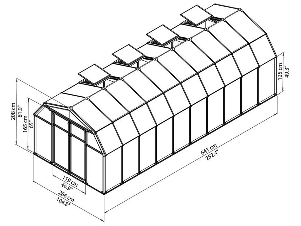 Rion Hobby Gardener 2 Twin Wall 8ft x 20ft Hobby Greenhouse HG7120 - full view of framework with dimensions