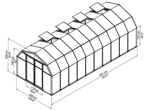 Image of Rion Hobby Gardener 2 Twin Wall 8ft x 20ft Hobby Greenhouse HG7120 - full view of framework with dimensions