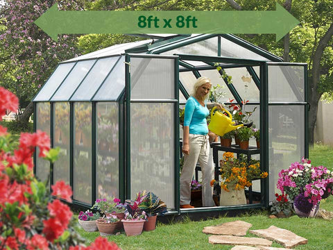 Rion Hobby Gardener 2 Twin Wall 8ft x 8ft Hobby Greenhouse HG7108 - full view - green arrow on top with dimensions - in a garden