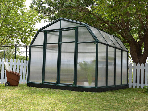 Image of Rion Hobby Gardener 2 Twin Wall 8ft x 8ft Hobby Greenhouse HG7108 - full view - closed door - in a garden