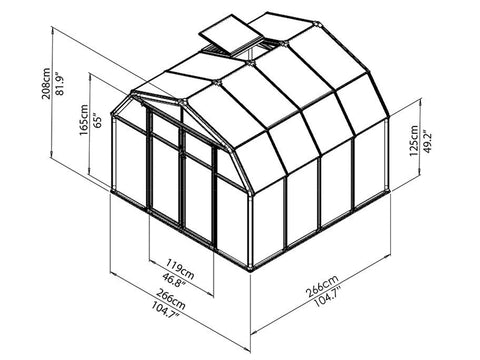 Rion Hobby Gardener 2 Twin Wall 8ft x 8ft Hobby Greenhouse HG7108 - full view of framework with dimensions