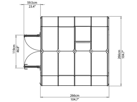 Image of Rion Hobby Gardener 2 Twin Wall 8ft x 8ft Hobby Greenhouse HG7108 - top view of framework with dimensions